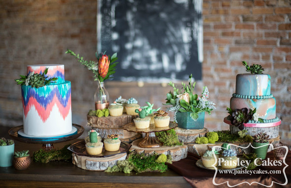 Southwestern themed Wedding Cake display