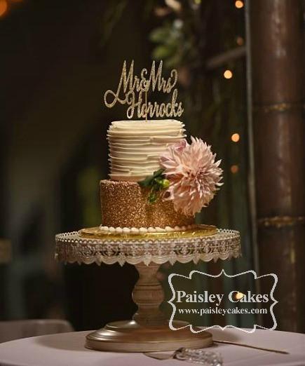 Gold Glitter and Buttercream Ruffle Wedding Cake
