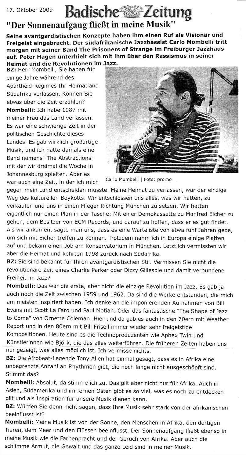 Badishe Zeitung 2009