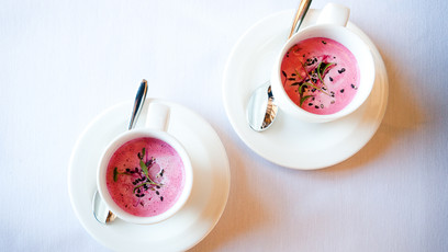 Delicious Soup Served in China Cups