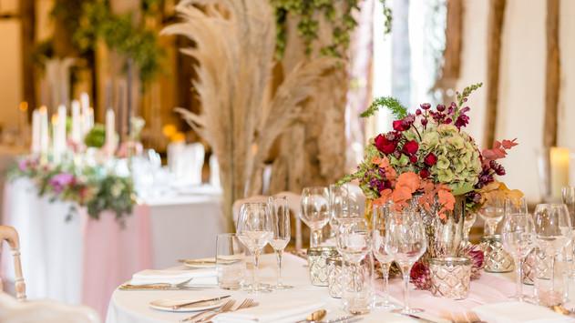 Boho Wedding Breakfast Room at Winters Barns