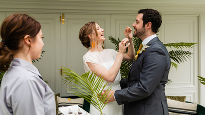 The Couple Enjoying their Canapés captured by Lemonade Photography