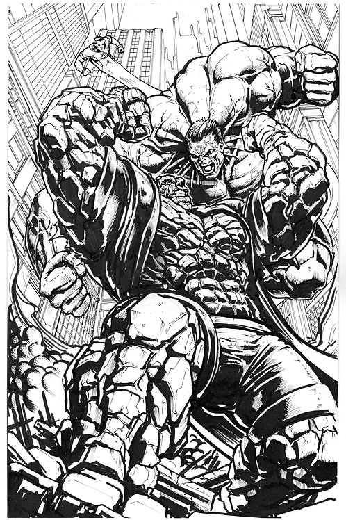 ORIGINAL ART: Hulk vs The Thing