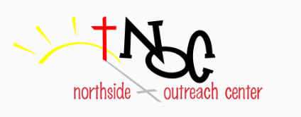 Logo contains black letters NOC to the right of a red cross and yellow sunrise. The works northside outreach center are in red below the image.