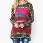 Leopard print Burgundy long sleeve Shirt