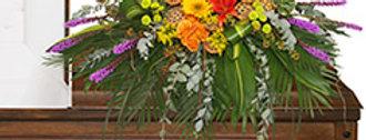 RADIANT MEDLEY CASKET SPRAY Funeral Flowers