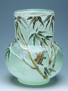 笹と雀文花瓶