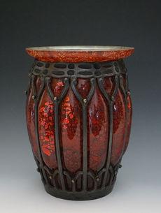 ドーム&L.マジョレル 鉄枠花瓶