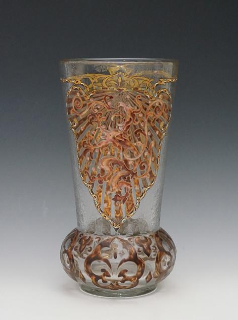 ガレ 獅子文花瓶 H:24.jpg