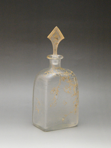 虫と草花文栓付瓶