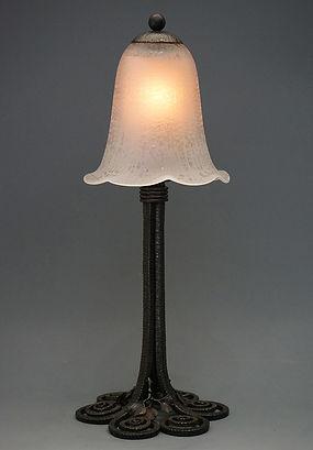ドーム アール・デコテーブルランプ(点灯) H:38.jpg