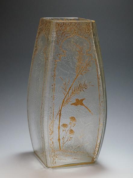 バカラ 花鳥文花瓶 H:25.jpg