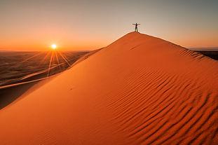 Sunset at Gobi desert, huge dunes with s