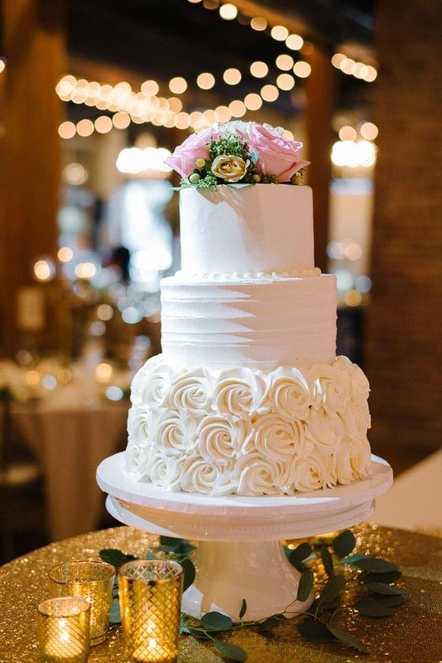 3 tiered rosette bottom wedding