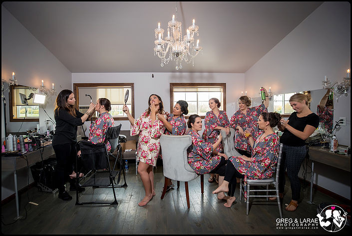 Photo of bridal party getting ready - photography by greg and larae photography