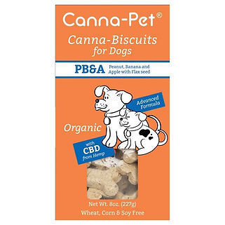 Canna-pet. Canna-biscuits for dogs. Advanced Formula. PB&A (Peanut, Banana & Apple). Organic & vegan. With CBD.