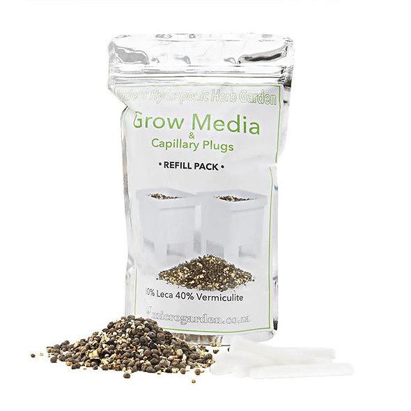 HYDROPONIC Indoor Herb Garden Grow Media and Capillary Plug Refill bag.