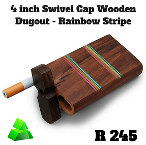 "Green goddess. 4"" swivel cap wooden dugout. Rainbow stripe."