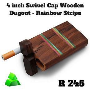 """Green goddess. 4"""" swivel cap wooden dugout. Rainbow stripe."""