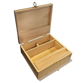 Green goddess. Large wooden storage box with latching lid & rolling jig.