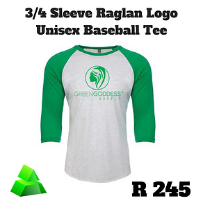 Green goddess. 3/4 sleeve. Logo shirt. Unisex. Baseball tee.