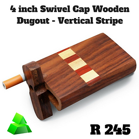 "Green goddess. 4"" swivel cap wooden dugout. Vertical stripe."