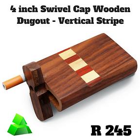 """Green goddess. 4"""" swivel cap wooden dugout. Vertical stripe."""