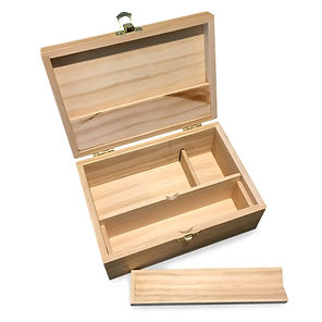 Green goddess. Medium wooden storage box with latching lid & rolling jig.