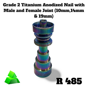 Green goddess. Grade 2 Titanium anodized nail with male and female joint (10mm,14mm & 19mm available).