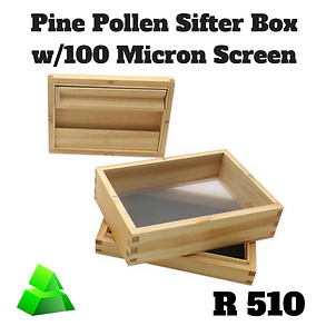 Green goddess. Pine pollen sifter box with 100 micron screen.