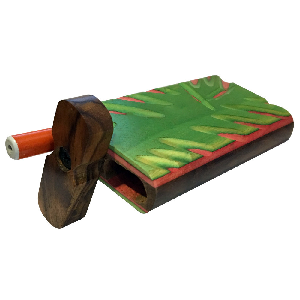 "Green Goddess Supply 4"" Carved Wood Swivel Cap Dugout - Green/Pink"