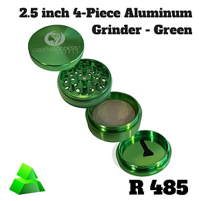"Green goddess. 2.5"" 4-piece Aluminum Grinder. Green."
