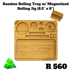 "Green goddess. Bamboo rolling tray with magnetized rolling jig (8.5"" x 8"")."