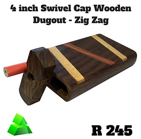"Green goddess. 4"" swivel cap wooden dugout. Zig zag."
