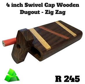 """Green goddess. 4"""" swivel cap wooden dugout. Zig zag."""