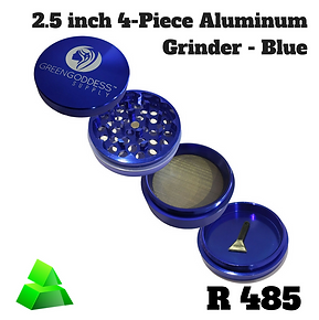 Green goddess. 2.5 inch 4-piece Aluminum grinder. Blue.