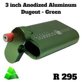 """Green goddess. 3"""" anodized Aluminum dugout. Green."""