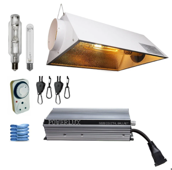 Air Cooled Electronic Grow Light Combo - Powerlux 600W, 150mm