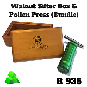 Green goddess combo. Walnut sifter box & pollen press.