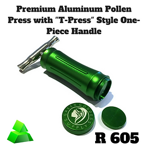 "Green goddess. Premium Aluminum pollen press with ""T-Press"". One-piece handle."