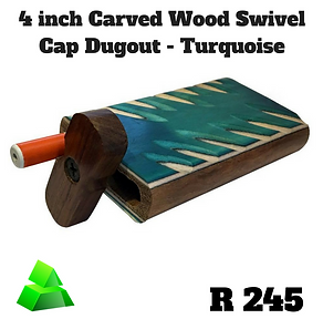 """Green goddess. 4"""" carved wood swivel cap dugout. Turquoise."""