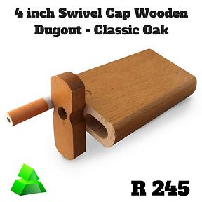 """Green goddess. 4"""" swivel cap wooden dugout. Classic Oak."""