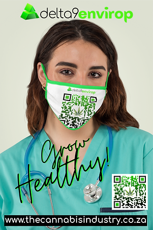 Young female doctor in scrubs wearing face mask printed with a cannabis leaf logo QR code.