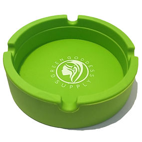 Green goddess. Round silicone ashtray. Green.