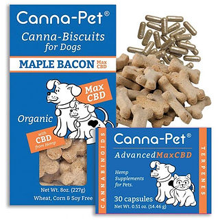 Canna-pet. Canna-pet Advanced Max CBD. 30 capsules plus Max CBD biscuits. Maple Bacon. Organic.