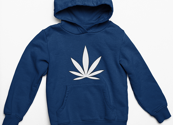 Unisex Hoodie SPECIAL - Navy with White Leaf Icon