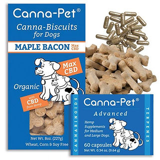 Canna-pet. Canna-pet. Advanced large. 60 capsules plus Max CBD biscuits. Maple Bacon. Organic.