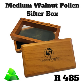 Green goddess. Medium walnut pollen sifter box.