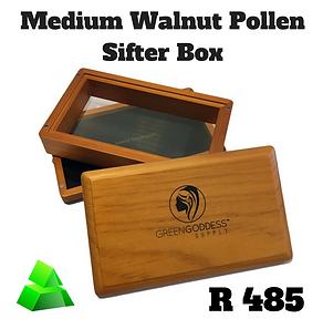Green goddess. Medium walnut pollen sifter box.