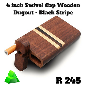 "Green goddess. 4"" swivel cap wooden dugout. Black stripe."